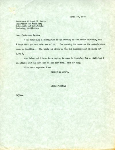 Letter from Linus Pauling to G.N. Lewis. Page 1. April 29, 1938
