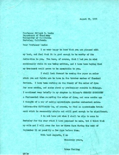 Letter from Linus Pauling to G.N. Lewis.Page 1. August 29, 1939
