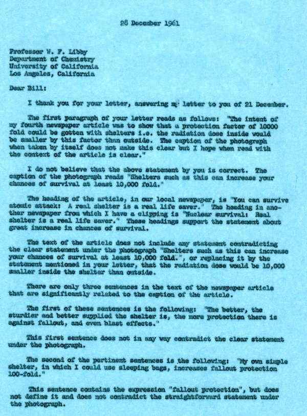 Letter from Linus Pauling to Dr. Willard F. Libby. Page 1. December 28, 1961