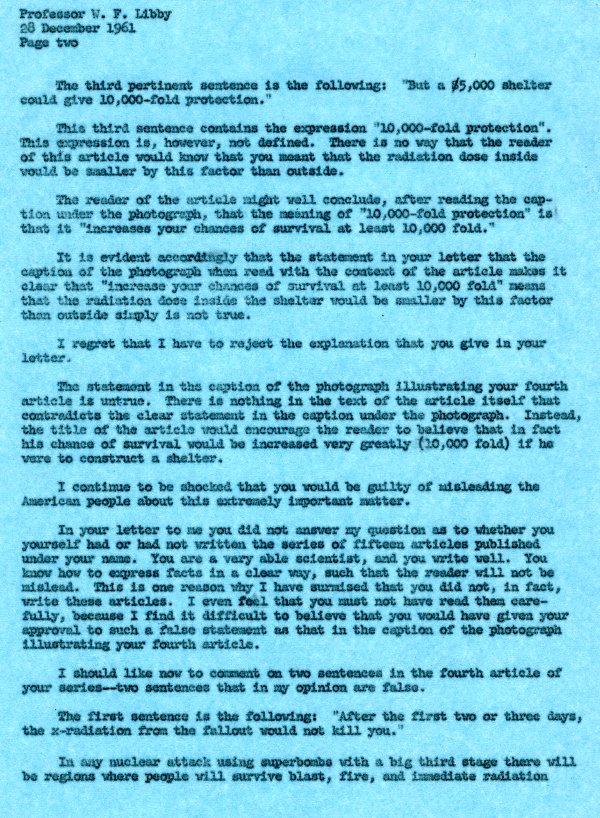 Letter from Linus Pauling to Dr. Willard F. Libby. Page 2. December 28, 1961
