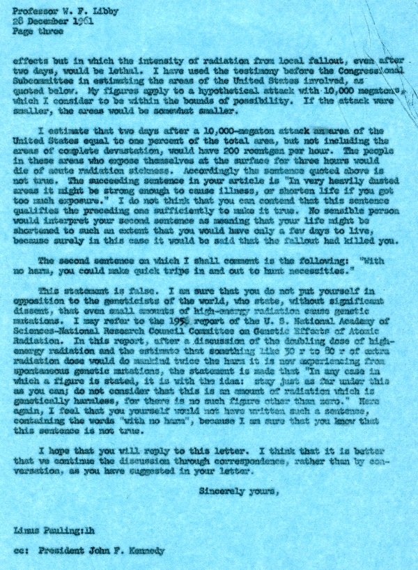 Letter from Linus Pauling to Dr. Willard F. Libby. Page 3. December 28, 1961
