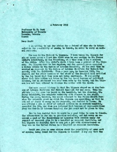 Letter from Linus Pauling to C.H. Best. Page 1. February 4, 1953
