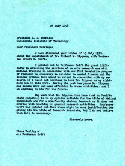 Letter from Linus Pauling to Lee DuBridge. Page 1. July 24, 1958