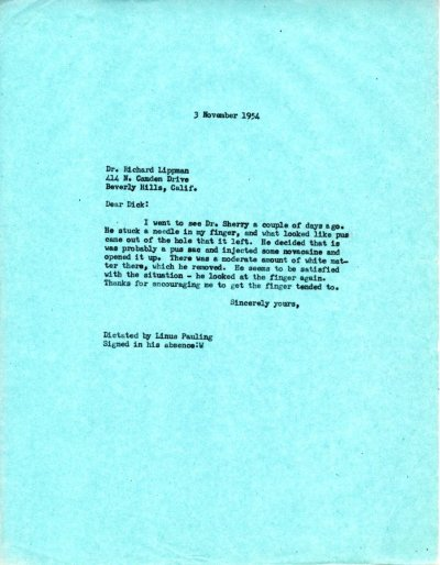 Letter from Linus Pauling to Richard Lippman Page 1. November 3, 1954