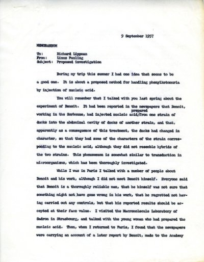 Letter from Linus Pauling to Richard Lippman Page 1. September 9, 1957