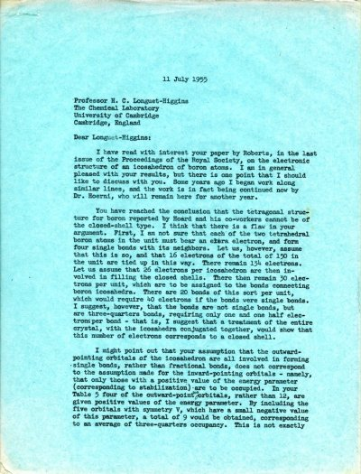 Letter from Linus Pauling to H.C. Longuet-Higgins Page 1. July 11, 1955