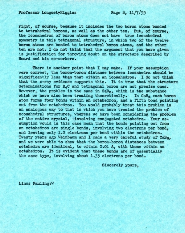 Letter from Linus Pauling to H.C. Longuet-Higgins Page 2. July 11, 1955