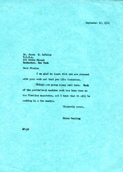 Letter from Linus Pauling to James E. LuValle.Page 1. September 10, 1941