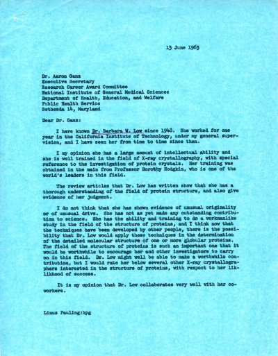 Letter from Linus Pauling to Aaron Ganz. Page 1. June 13, 1963