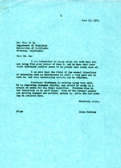 Letter from Linus Pauling to Chia Si Lu. Page 1. June 14, 1945