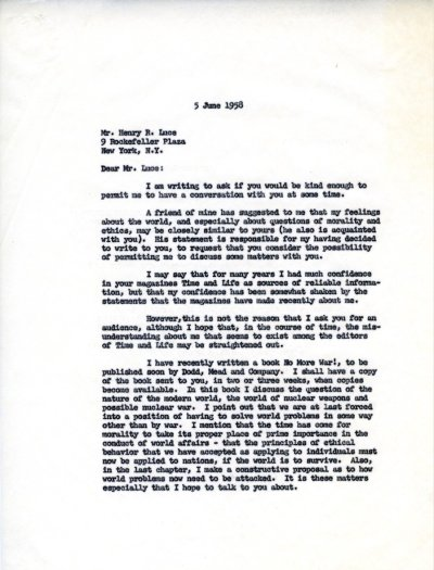 Letter from Linus Pauling to Henry R. Luce Page 1. June 5, 1958
