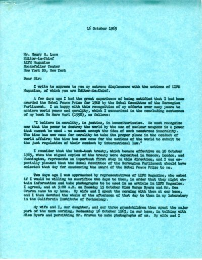 Letter from Linus Pauling to Henry R. Luce.Page 1. October 16, 1963