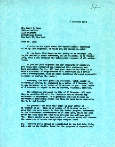 Letter from Linus Pauling to Henry R. Luce. Page 1. December 6, 1963