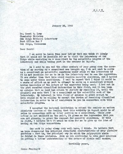 Letter from Linus Pauling to Henri Levy. Page 1. January 26, 1950