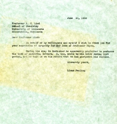 Letter from Linus Pauling to S.C. Lind Page 1. June 23, 1936