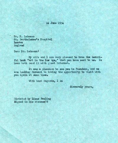 Letter from Linus Pauling to Hermann Lehmann Page 1. July 24, 1954