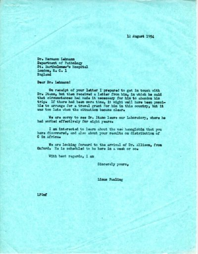 Letter from Linus Pauling to Hermann Lehmann Page 1. August 12, 1954