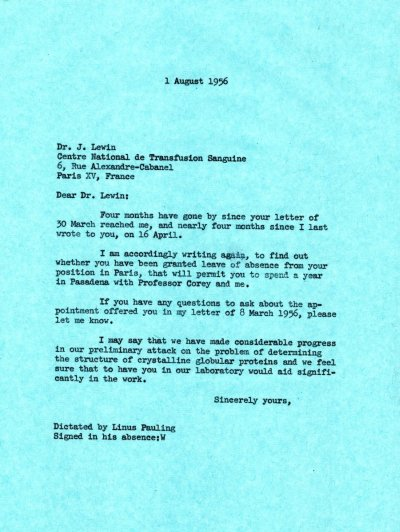Letter from Linus Pauling to J. Lewin. Page 1. August 1, 1956