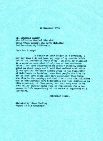 Letter from Linus Pauling to Benjamin Linsky. Page 1. November 20, 1956