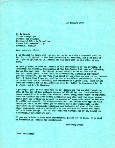 Letter from Linus Pauling to M. J. Léonis. Page 1. January 19, 1960