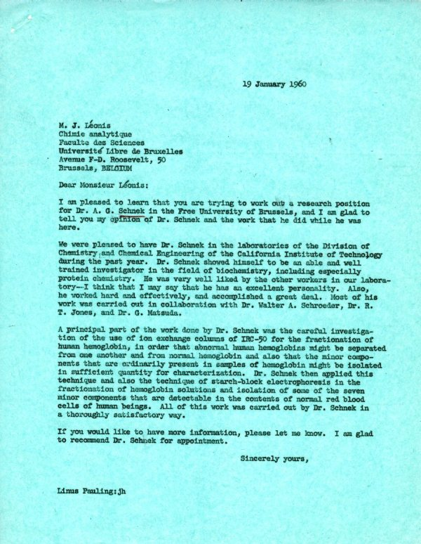 Letter from Linus Pauling to M. J. Léonis.Page 1. January 19, 1960