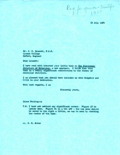 Letter from Linus Pauling to J. W. Linnett. Page 1. July 14, 1964