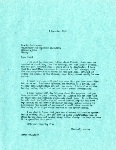Letter from Linus Pauling to Otto Bastiansen.Page 1. December 1, 1952
