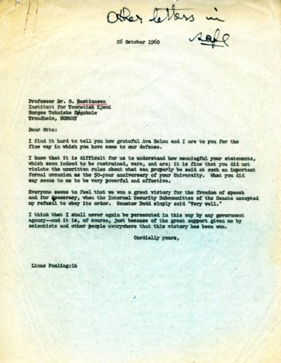 Letter from Linus Pauling to Otto Bastiansen. Page 1. October 26, 1960