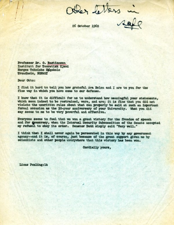 Letter from Linus Pauling to Otto Bastiansen.Page 1. October 26, 1960