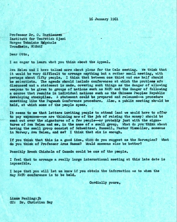 Letter from Linus Pauling to Otto Bastiansen. Page 1. January 16, 1961