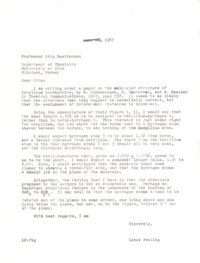 Letter from Linus Pauling to Otto Bastiansen. Page 1. June 26, 1967