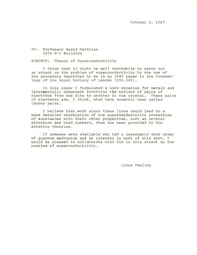 Letter from Linus Pauling to Bernd Matthias. Page 1. October 2, 1967