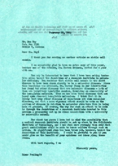 Letter from Linus Pauling to Ben May. Page 1. February 20, 1952