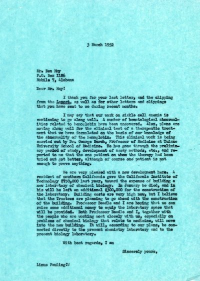 Letter from Linus Pauling to Ben May.Page 1. March 3, 1952