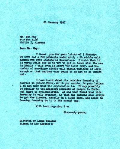 Letter from Linus Pauling to Ben May. Page 1. January 21, 1957