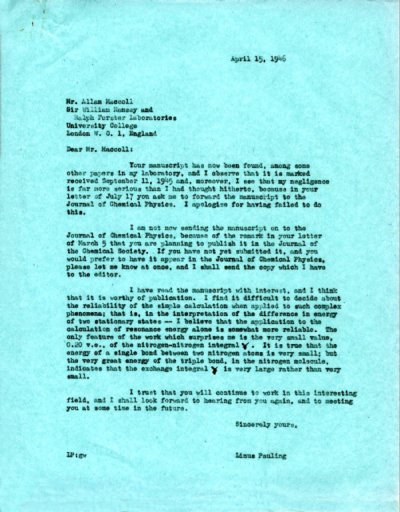 Letter from Linus Pauling to Allan MacColl. Page 1. April 15, 1946
