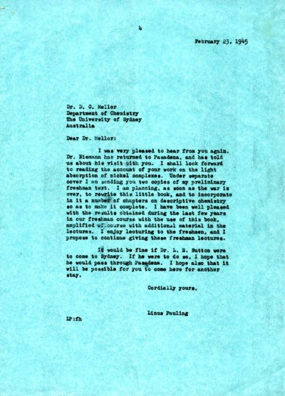 Letter from Linus Pauling to David P. Mellor. Page 1. February 23, 1945