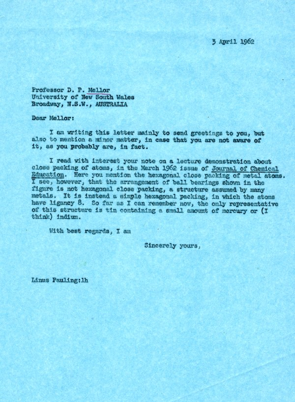 Letter from Linus Pauling to David P. Mellor. Page 1. April 3, 1962