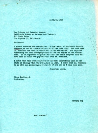 Letter from Linus Pauling to the California Museum of Science and Industry. Page 1. March 13, 1959