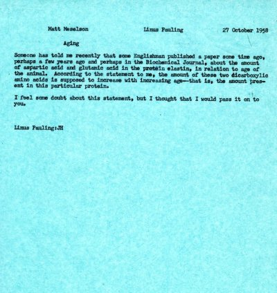 Letter from Linus Pauling to Matthew Meselson.Page 1. October 27, 1958
