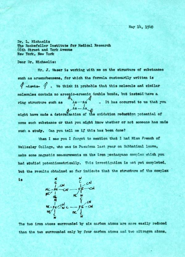 Letter from Linus Pauling to Leonor Michaelis.Page 1. May 14, 1940