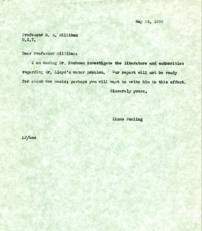 Letter from Linus Pauling to Robert Millikan. Page 1. May 24, 1938