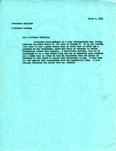 Letter from Linus Pauling to Robert Millikan.Page 1. March 1, 1939