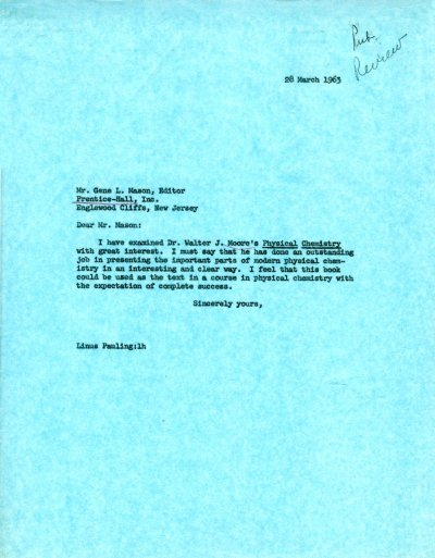 Letter from Linus Pauling to Gene Mason. Page 1. March 28, 1963