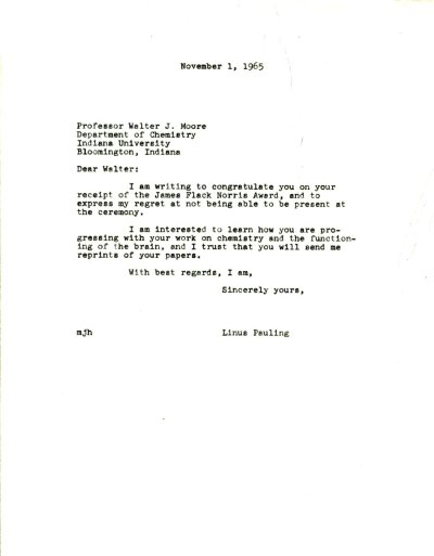 Letter from Linus Pauling to Walter J. Moore Page 1. November 1, 1963