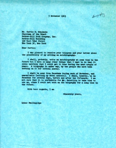 Letter from Linus Pauling to Curtis G. Benjamin.Page 1. November 5, 1963
