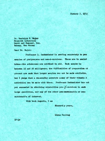 Letter from Linus Pauling to Randolph T. Major. Page 1. January 7, 1942