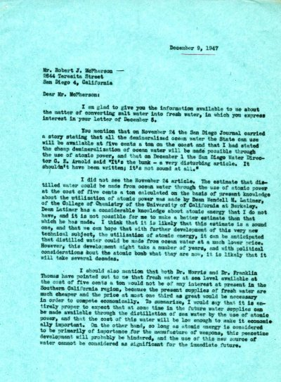Letter from Linus Pauling to Robert J. McPherson. Page 1. December 9, 1947
