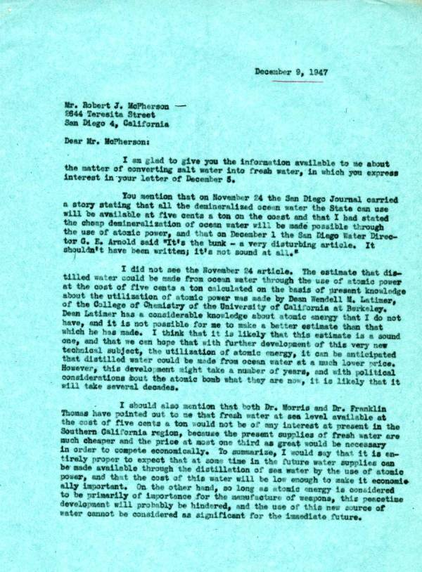 Letter from Linus Pauling to Robert J. McPherson.Page 1. December 9, 1947