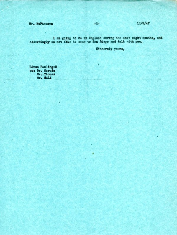 Letter from Linus Pauling to Robert J. McPherson.Page 2. December 9, 1947